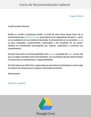 descargar carta de recomendacion laboral google drive