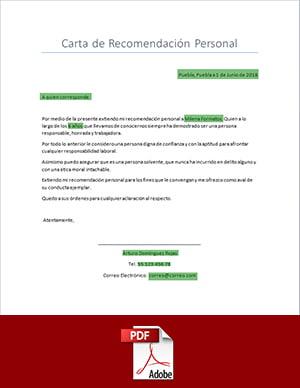 descargar carta de recomendacion personal pdf