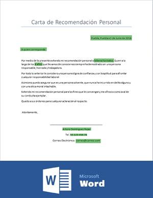 Cartas de Recomendación personal: Ejemplos en Word y PDF 1