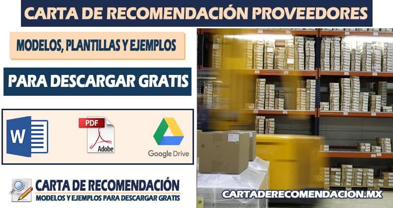 carta de recomendacion de proveedor