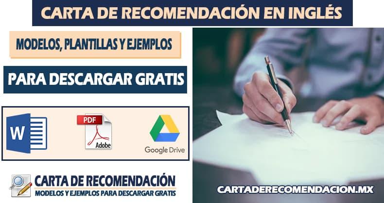 carta de recomendacion laboral en ingles