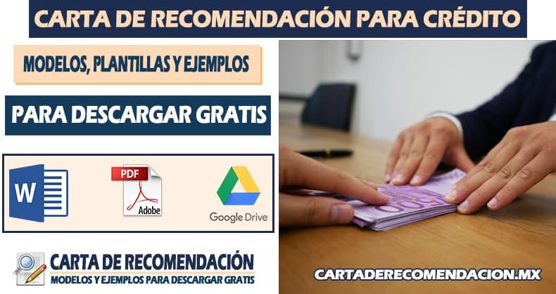 carta de recomendacion para credito bancario