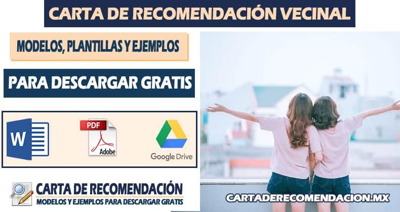 carta de recomendacion vecinal word