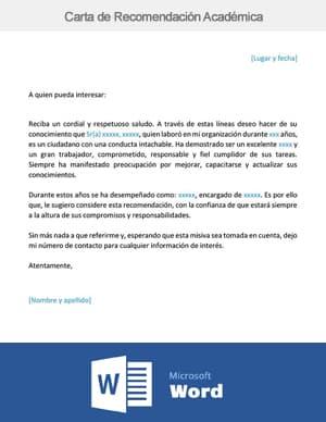 descargar carta de recomendacion Académica word