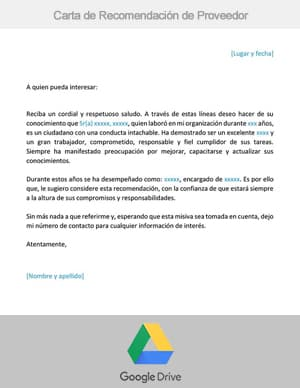 descargar carta de recomendacion de proveedor google drive