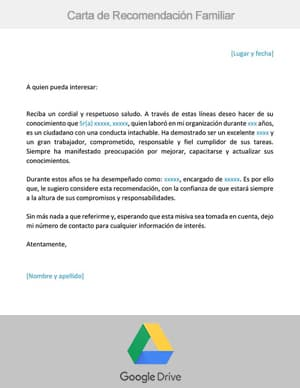 descargar carta de recomendacion familiar google drive