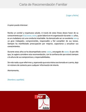 descargar carta de recomendacion familiar pdf