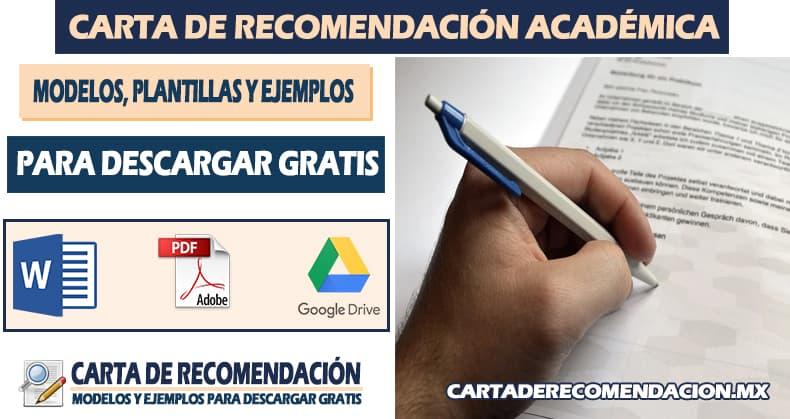 ejemplo de carta de recomendacion academica